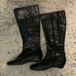 Black buckle riding boots knee high boots